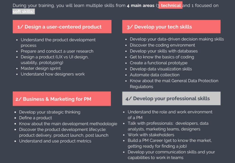 Apprentissage de la formation product manager
